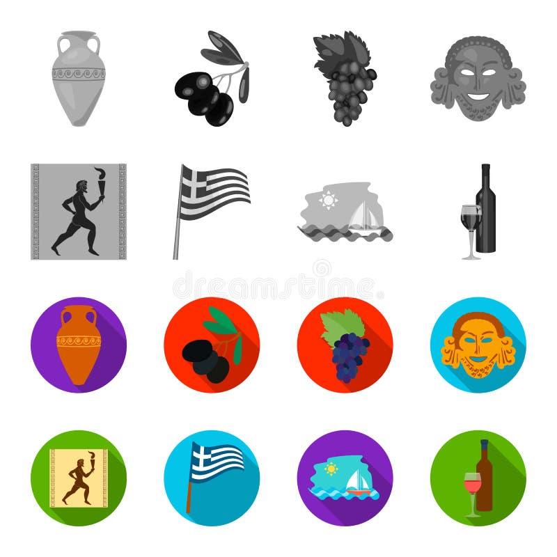 Grekland spring, vin, flagga Grekland ställde in samlingssymboler i monokrom, rengöringsduk för illustration för materiel för sym stock illustrationer