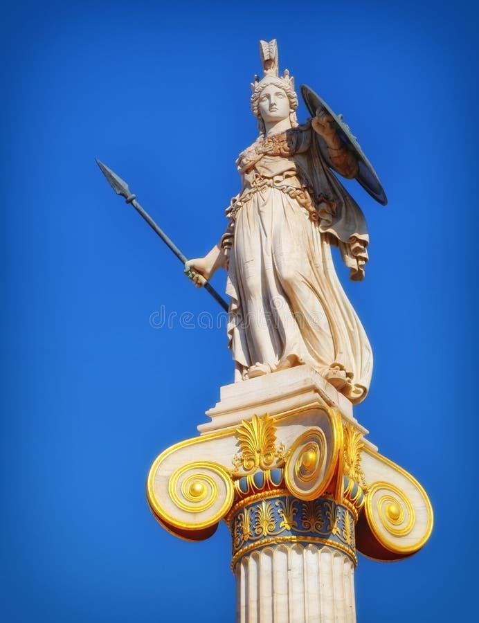 Grekland staty av Athena den forntida gudinnan av vishet och kunskap royaltyfria bilder