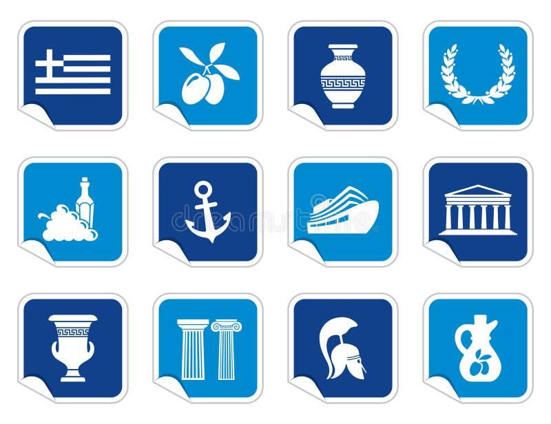 Grekland symboler på klistermärkear royaltyfri illustrationer