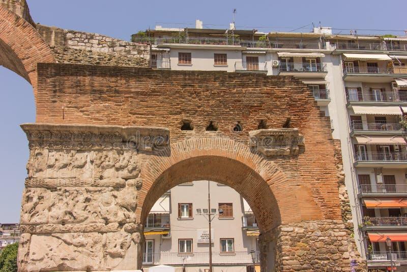 Grekland Thessaloniki, båge av Galerius arkivbild