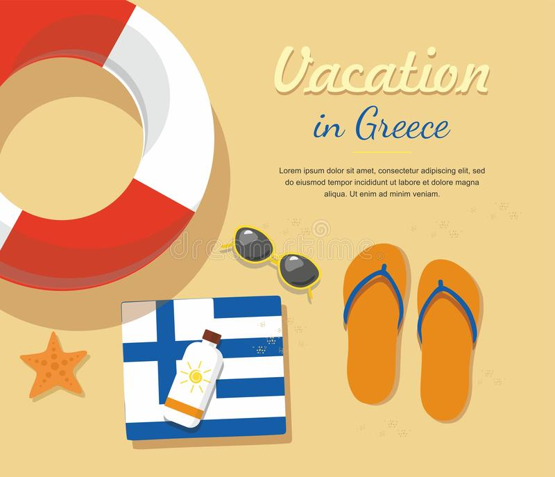 Grekland turism Badskor i sandpapprar med handduken, solexponeringsglas och andra stock illustrationer