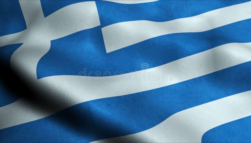 Grekland vinkande flagga i 3D stock illustrationer