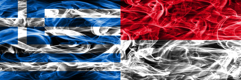 Grekland vs Monaco rök sjunker den förlade sidan - förbi - sidan Tjockt färgat vektor illustrationer