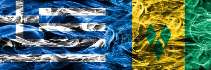 Grekland vs Saint Vincent och Grenadinerna rökflaggor förlade si royaltyfri illustrationer
