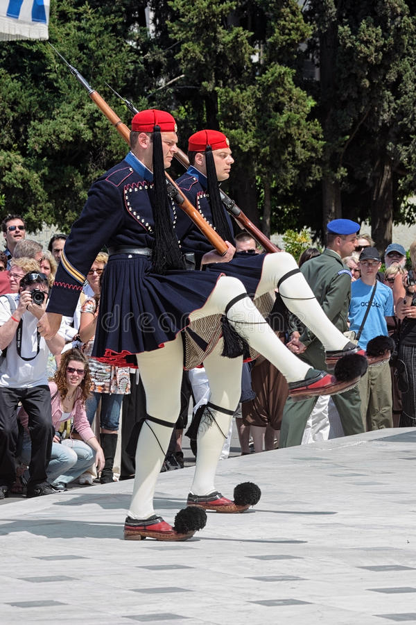 Grekvakter i Athens, Grekland arkivfoton