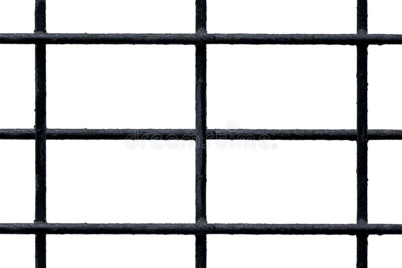 Grelha com as barras de metal pretas com isolado em branco imagens de stock