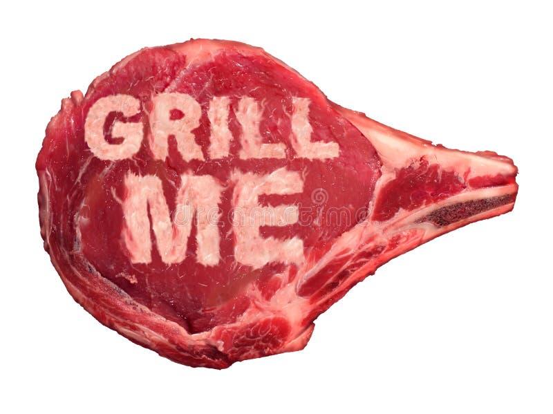 Grelhando a carne ilustração royalty free