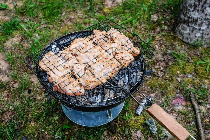 Grelhando a variedade deliciosa de carne no carvão vegetal do assado grelhe g foto de stock