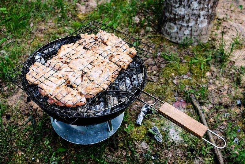 Grelhando a variedade deliciosa de carne no carvão vegetal do assado grelhe g foto de stock royalty free