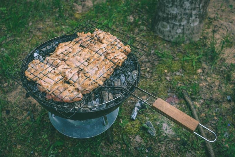 Grelhando a variedade deliciosa de carne no carvão vegetal do assado grelhe g fotografia de stock royalty free
