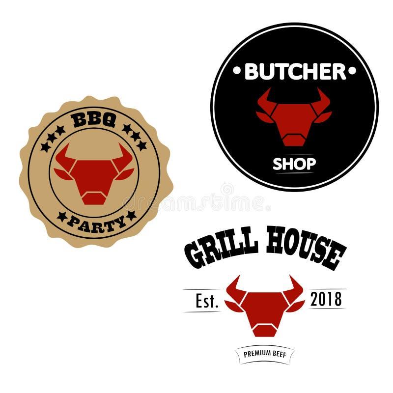 Grelhe a casa, o açougue e os logotipos ou as etiquetas do estilo do vintage do partido do BBQ com cabeça vermelha do touro ou da ilustração do vetor