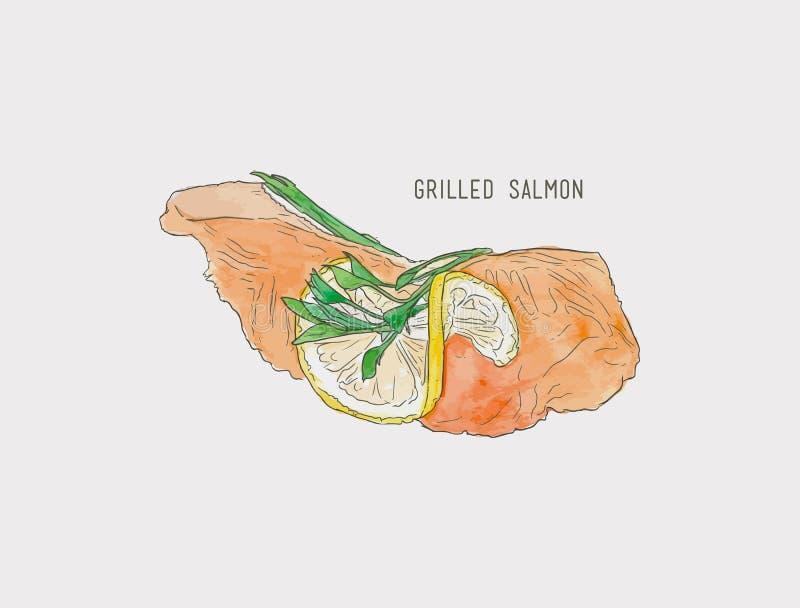 grelhe o bife salmon da faixa, vetor do esboço da cor de água ilustração stock