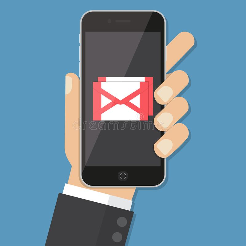 Grelle Designarthand, die den Smartphone mit E-Mail-Anwendung auf Schirm, Vektorgestaltungselementillustration hält stock abbildung