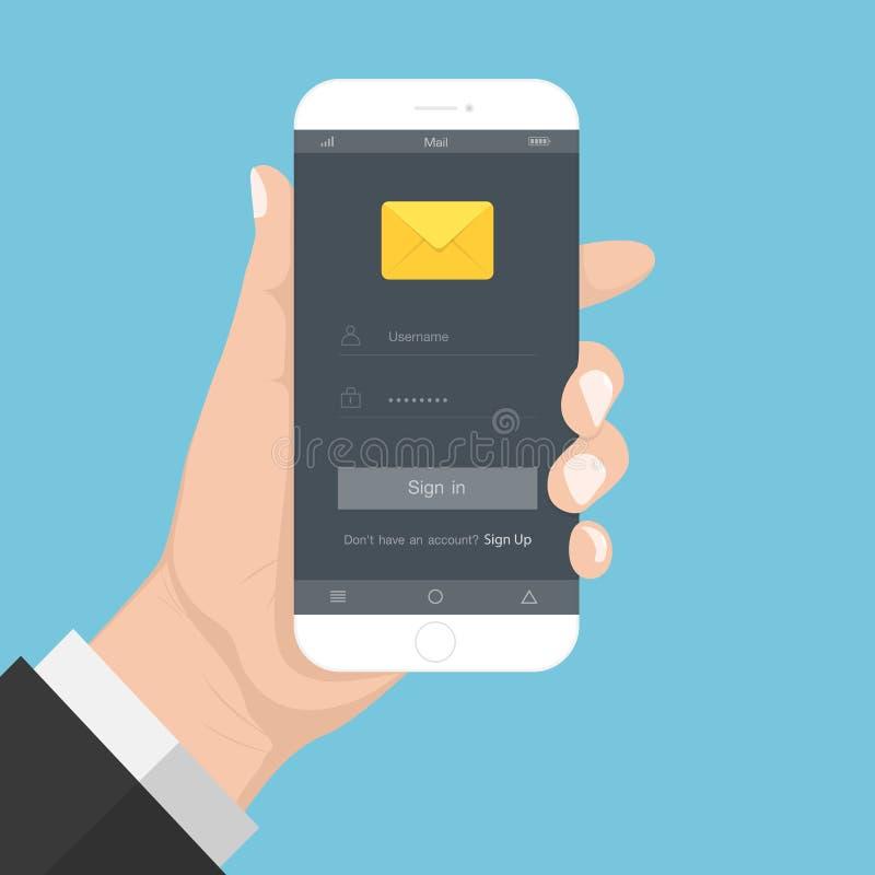 Grelle Designarthand, die den Smartphone mit E-Mail-Anwendung auf Schirm, Vektorgestaltungselementillustration hält lizenzfreie abbildung