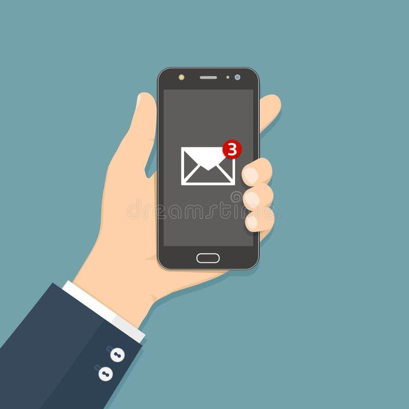 Grelle Entwurfsarthand, die den Smartphone mit E-Mail-Anwendung auf Schirm h?lt lizenzfreie abbildung