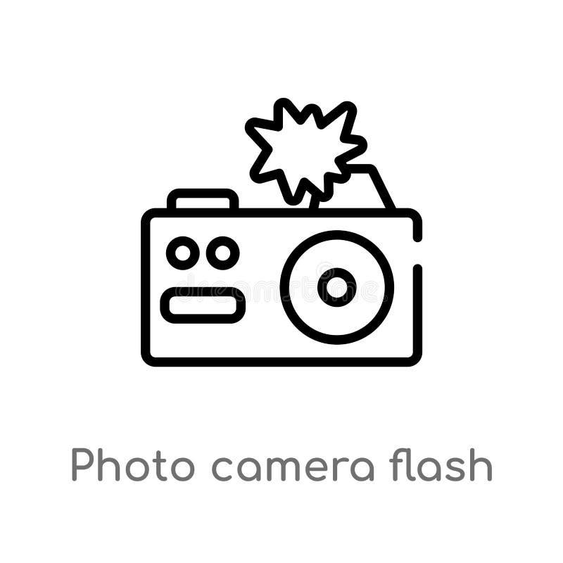 grelle Vektorikone der Entwurfsfotokamera lokalisiertes schwarzes einfaches Linienelementillustration vom Technologiekonzept Edit lizenzfreie abbildung