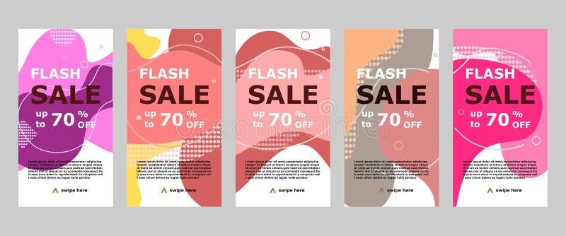 Grelle Verkaufsfahne mobiler App und instagram stock abbildung
