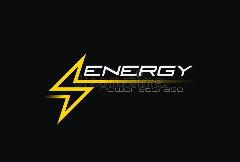 Greller Blitz-Energie-Energie-Logovektor linear vektor abbildung