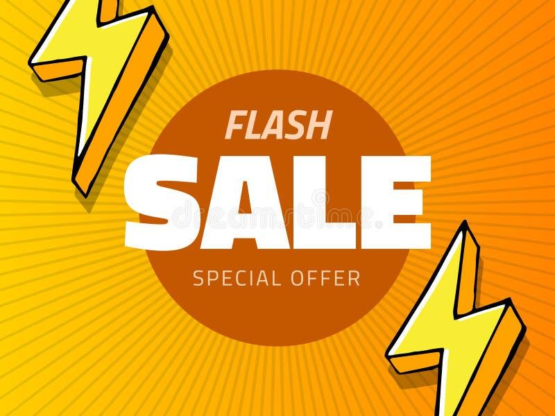 Grelles Verkaufsdesign des Vektors mit Donnervektorillustration, gelber Hintergrund mit Blitz für Geschäftsdesign vektor abbildung