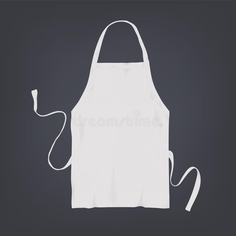 Grembiule bianco realistico della cucina Illustrazione di vettore su fondo scuro royalty illustrazione gratis