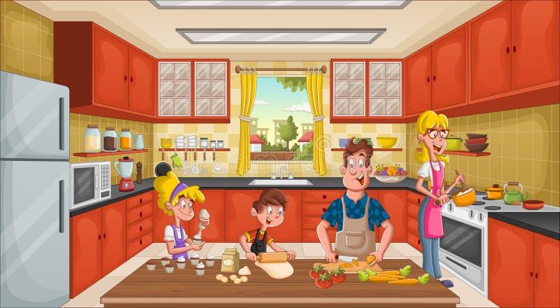 Grembiule d'uso e cottura della famiglia Cuoco unico nella cucina illustrazione vettoriale