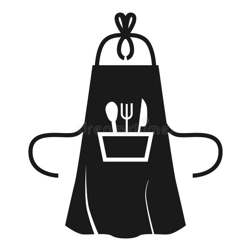 Grembiule della cucina con l'icona della tasca, stile semplice royalty illustrazione gratis