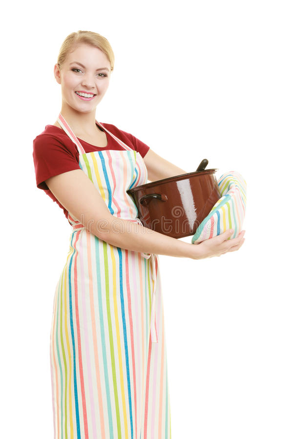 Grembiule della cucina del cuoco unico o della casalinga con il vaso di minestra e della siviera fotografie stock libere da diritti