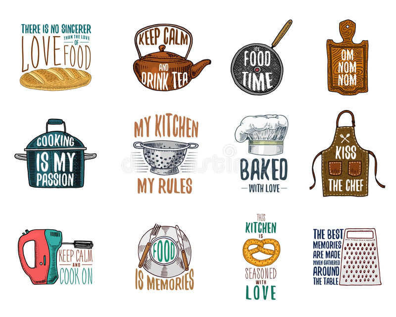 Grembiule e casseruola, bagel e bordo di legno con il cappuccio Cuocere o utensili sporchi della cucina, cucinanti roba emblema d royalty illustrazione gratis
