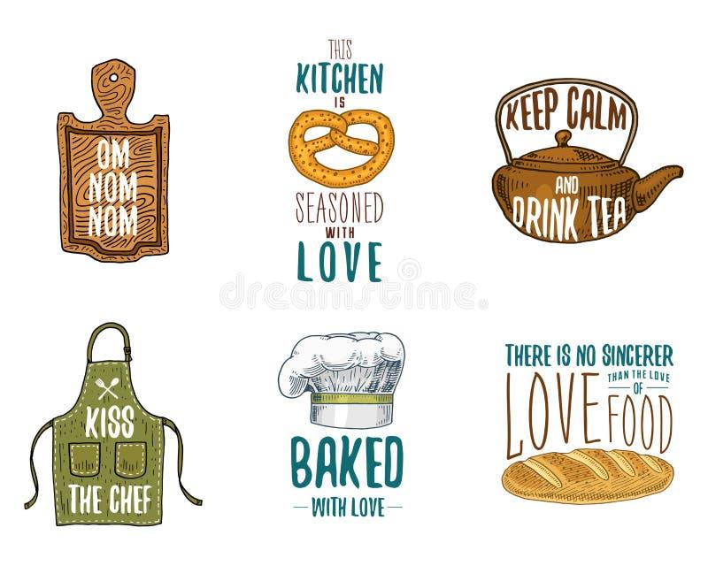 Grembiule e casseruola, bagel e bordo di legno con il cappuccio, la pentola ed il bollitore Cuocere o utensili sporchi della cuci illustrazione vettoriale