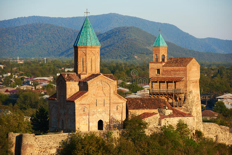 Gremi orthodox monastery and church complex in Kakheti Georgia. Gremi. 16th-century architectural monument. Religious Christianity orthodox monastery complex in stock photo