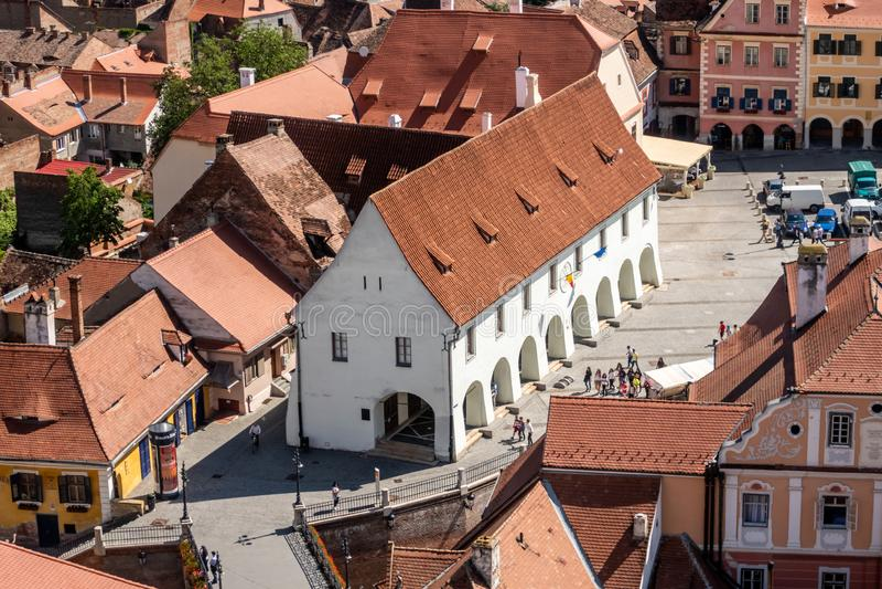 Gremio Pasillo de los carniceros 1370 y el puente de mentiras en Sibiu Hermannstadt, Transilvania, Rumania imagenes de archivo
