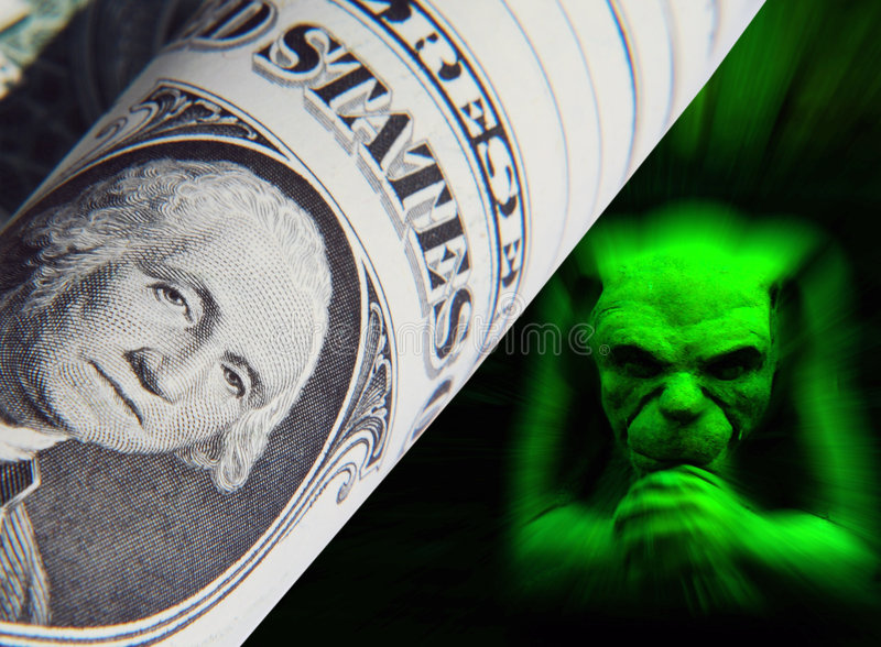Gremlin do dólar ilustração stock