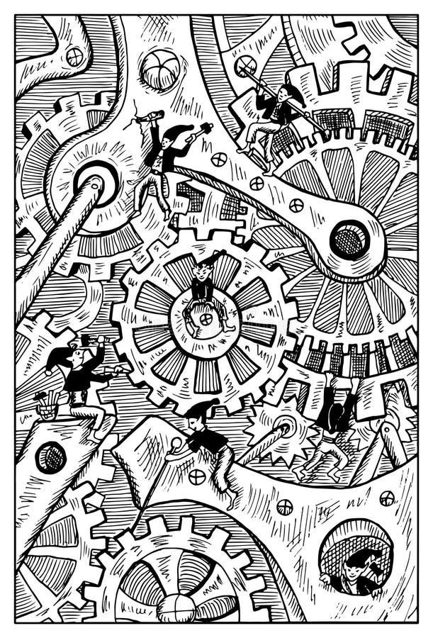 Gremlins łamania zegaru mechanizm Grawerująca fantazi ilustracja ilustracji