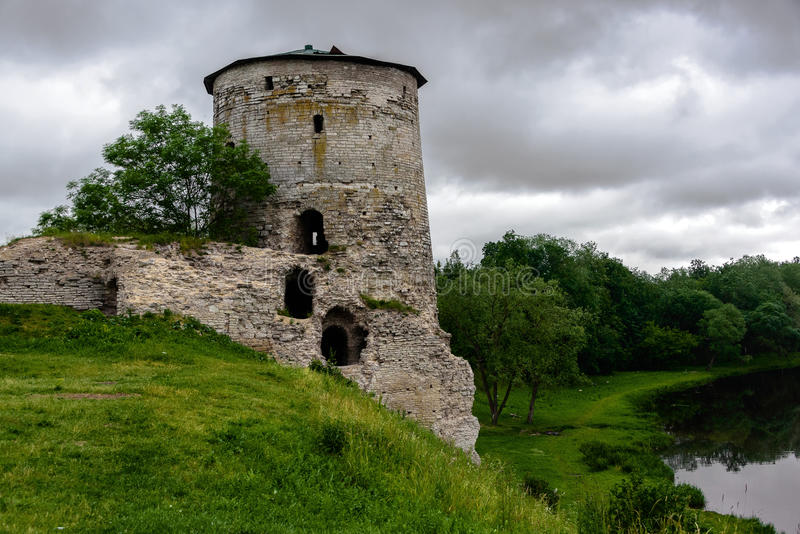 Gremyachaya Tower in Pskov stock images
