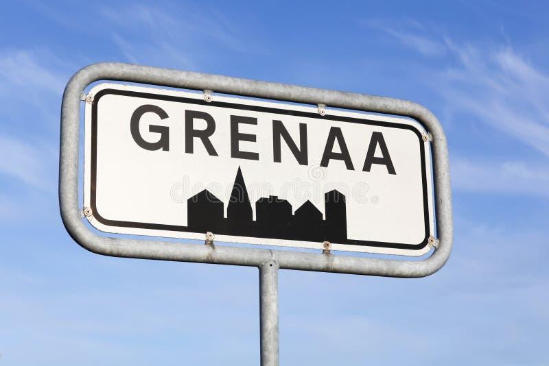 Grenaa miasta drogowy znak obraz stock
