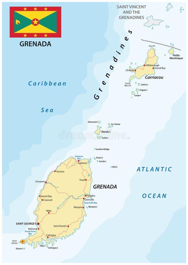 Grenada drogowa mapa z flaga ilustracji