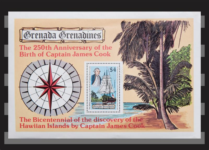 Grenada Grenadines sheet stamps. The 250th Anniversary of the Birth of Captain James cook sheet isolated on binder stamps page stock photos