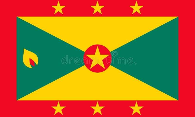 Grenada national flag. Vector illustration. St.George. Lesser Antiles stock illustration