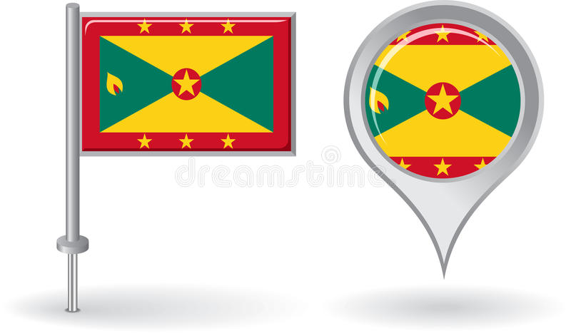 Grenada pin icon and map pointer flag. Vector royalty free illustration