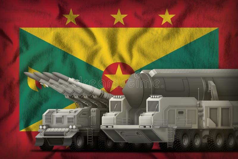Grenada-Raketentruppenkonzept auf dem Staatsflaggehintergrund Abbildung 3D vektor abbildung