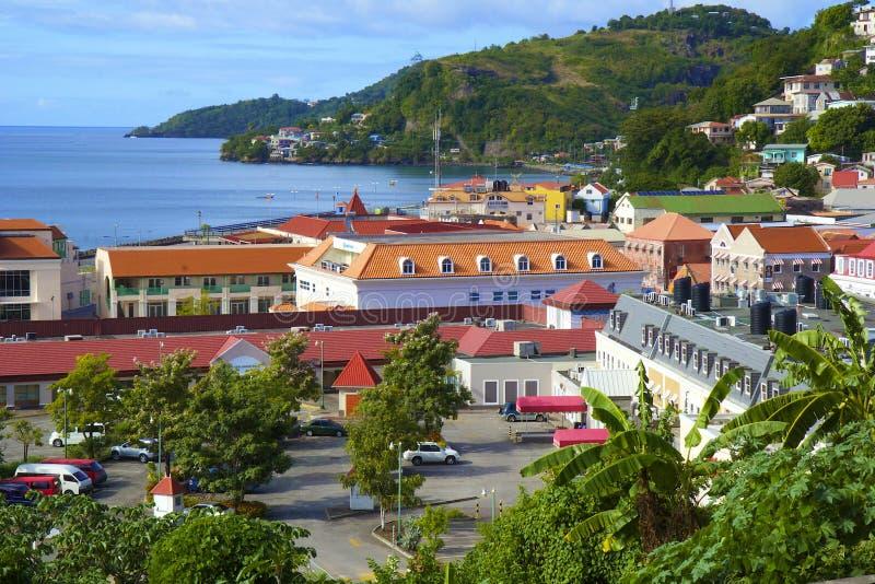 Grenada sikt - St George stad fotografering för bildbyråer