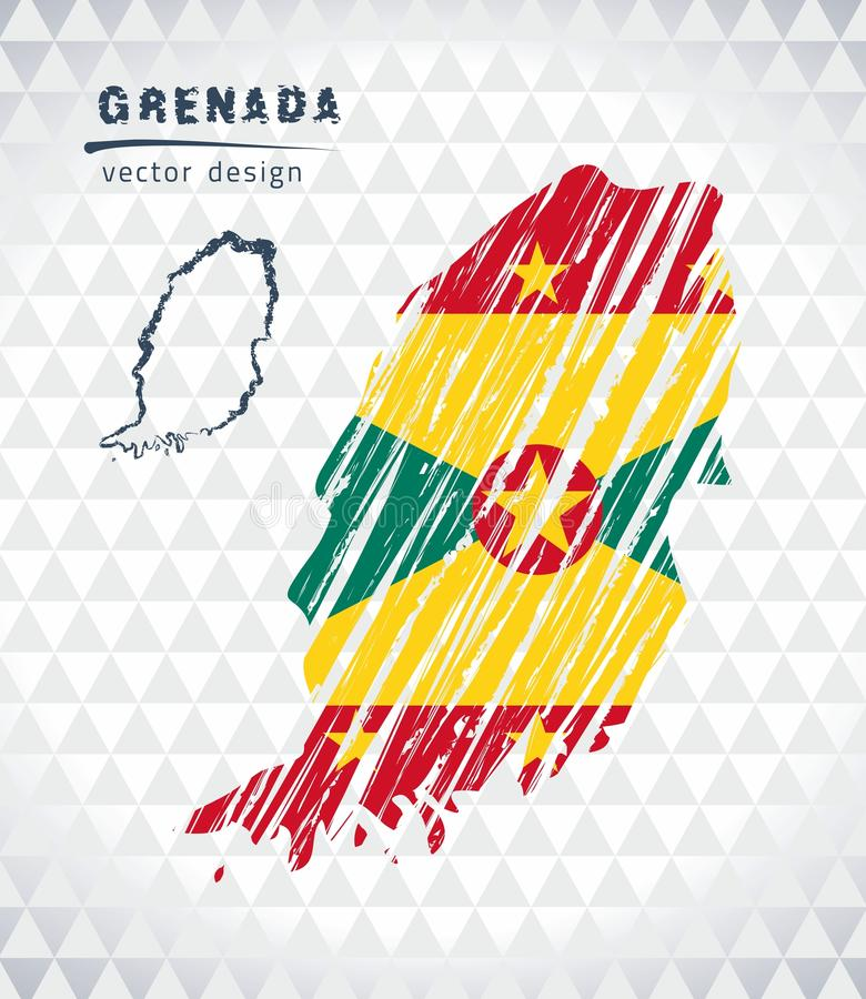 Grenada vector map with flag inside isolated on a white background. Sketch chalk hand drawn illustration vector illustration