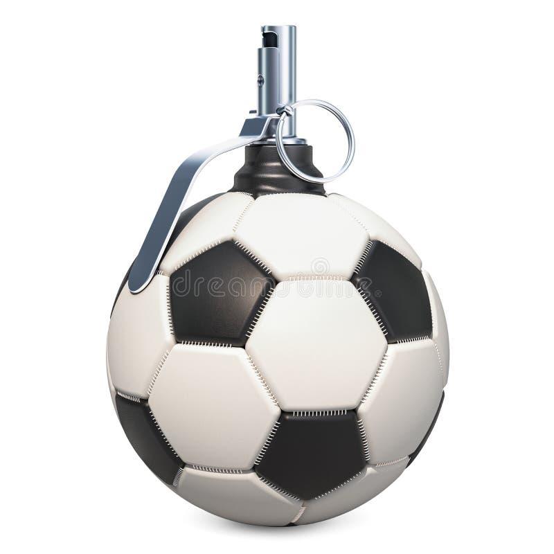 Grenade à main de ballon de football rendu 3d illustration de vecteur
