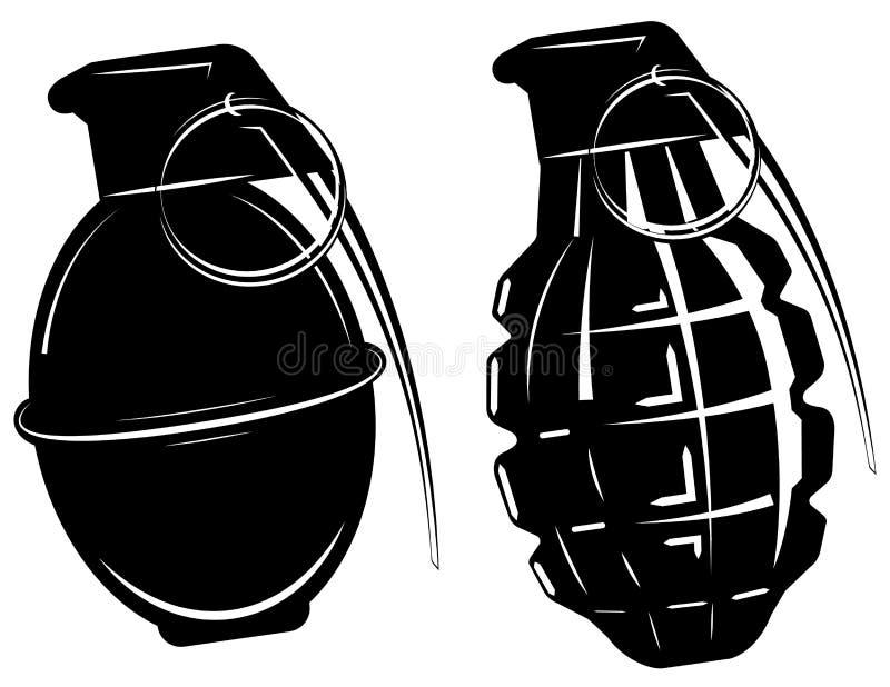 Grenade à main, explosion de bombe, arme d'armée d'armes illustration de vecteur