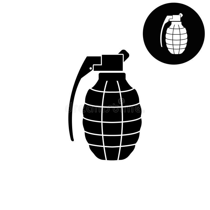 Grenade à main - icône blanche de vecteur illustration stock