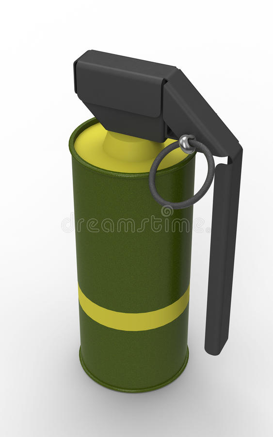 Grenade à main jaune de fumée photographie stock libre de droits