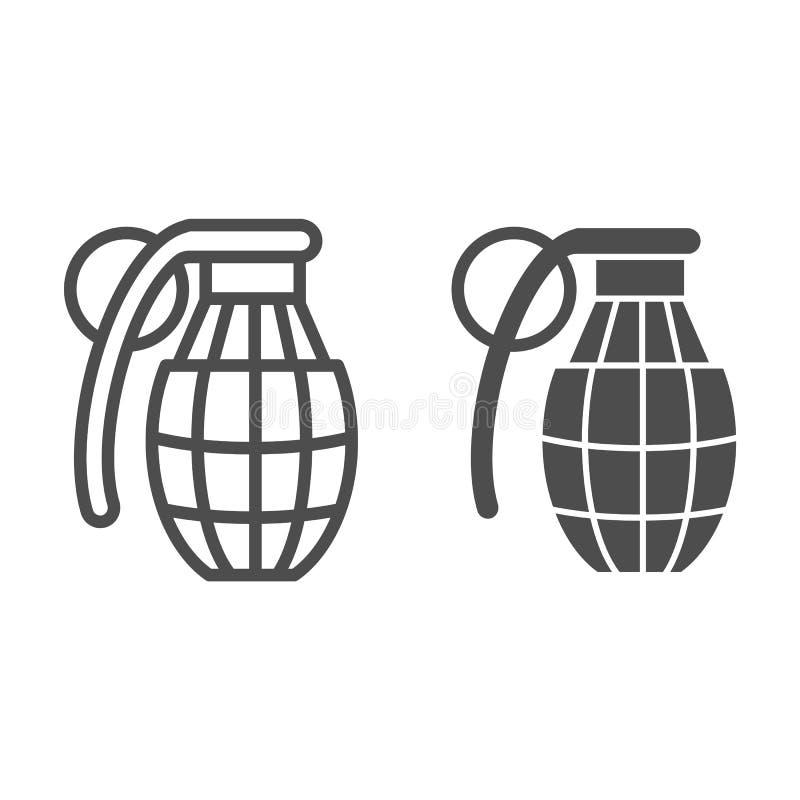 Grenade avec la ligne de contrôle et l'icône de glyph Illustration de vecteur de bombe d'isolement sur le blanc Conception de sty illustration stock