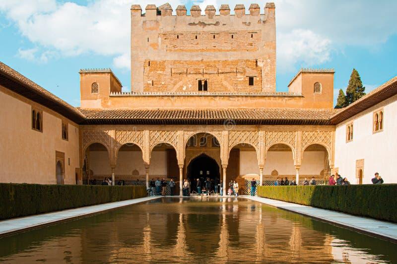 Grenade, Espagne Vers en mars 2010 : Cour des myrtes dans le palais de Nasrid ? Alhambra image libre de droits
