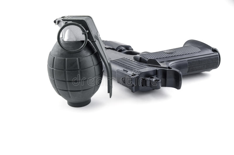 Grenade and Handgun royalty free stock photography