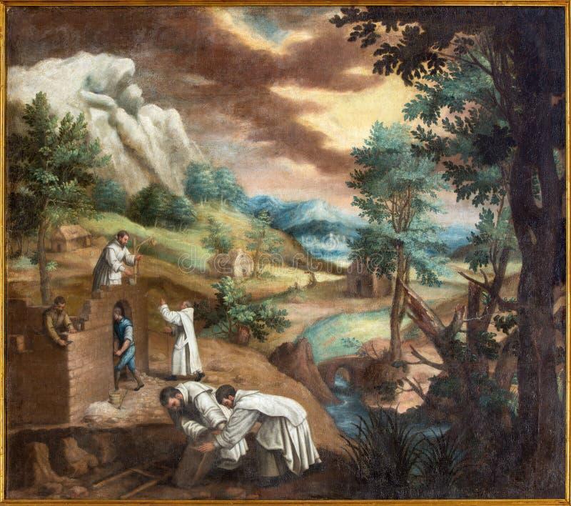 Grenade - l'ast de peinture la construction de Carthusians le premier monastère en Monasterio de la Cartuja images libres de droits